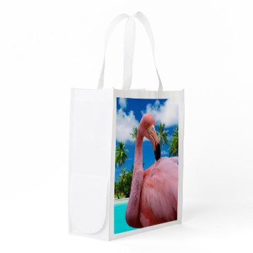 Beach Themed Flamingo and Beach Grocery Bag