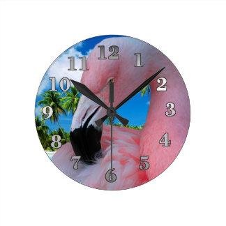 Flamingo and Beach Round Clock