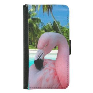 Flamingo and Beach Wallet Phone Case For Samsung Galaxy S5