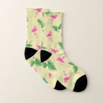 Flamingo and Palm Frond Pattern Socks