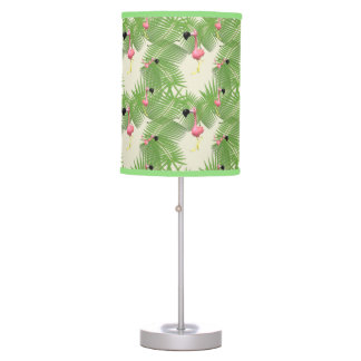 Flamingo and Palm Tree Leaves Desk Lamp