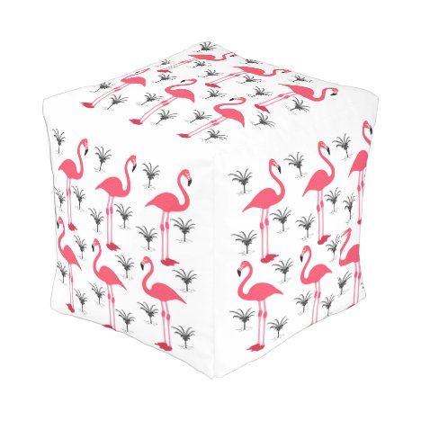 Flamingo and Palm Tree Outdoor Pouf