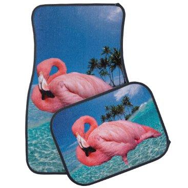 Beach Themed Flamingo and Palms Car Mat