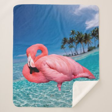 Beach Themed Flamingo and Palms Sherpa Blanket