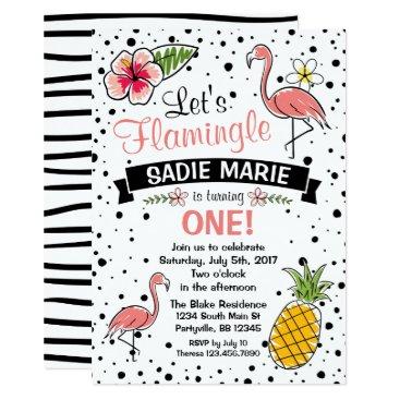 PartySparkleDesigns Flamingo and Pinapple Doodle Birthday Invitation