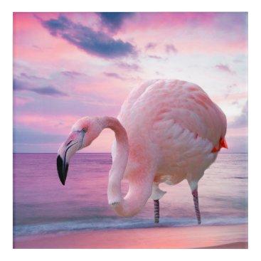 Beach Themed Flamingo and Pink Sky Acrylic Print