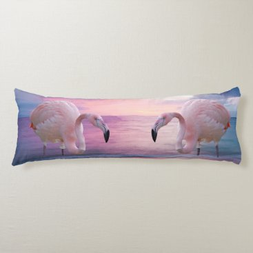 Beach Themed Flamingo and Pink Sky Body Pillow