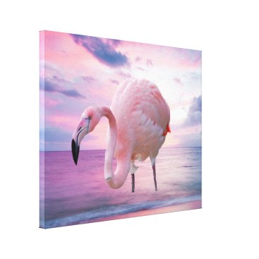 Beach Themed Flamingo and Pink Sky Canvas Print