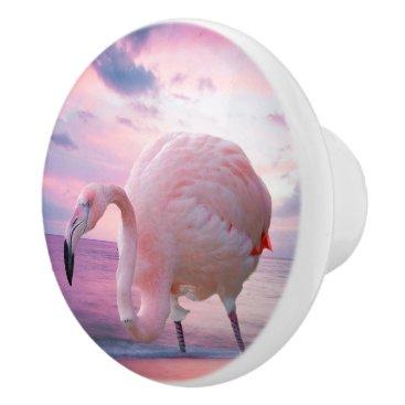 Beach Themed Flamingo and Pink Sky Ceramic Knob