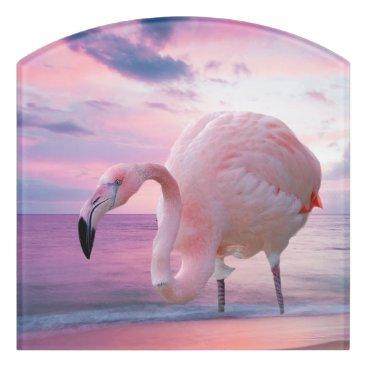 Beach Themed Flamingo and Pink Sky Door Sign