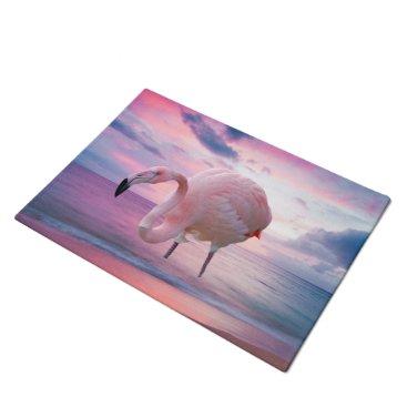 Beach Themed Flamingo and Pink Sky Doormat