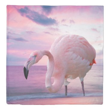 Beach Themed Flamingo and Pink Sky Duvet Cover