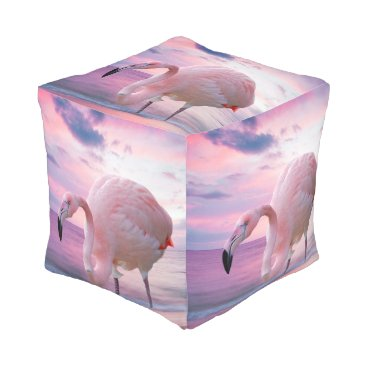 Beach Themed Flamingo and Pink Sky Pouf