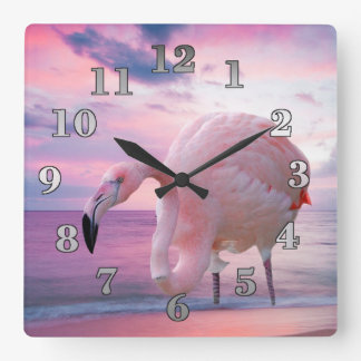 Flamingo and Pink Sky Square Wall Clock