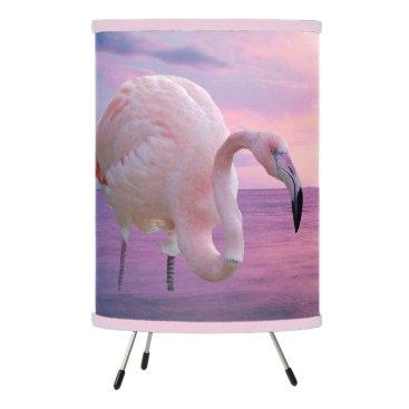 Beach Themed Flamingo and Pink Sky Tripod Lamp