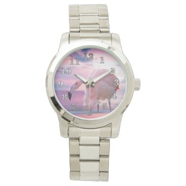 Beach Themed Flamingo and Pink Sky Wristwatch