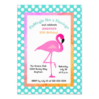 Flamingo and Polka Dot Party Invitation