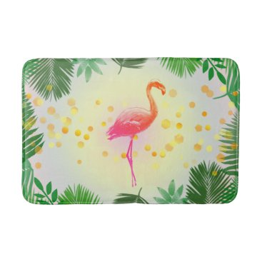 Beach Themed Flamingo and Tropical Leaves * Summer Time Madness Bathroom Mat