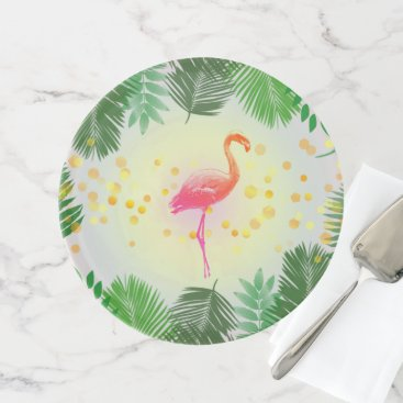 Beach Themed Flamingo and Tropical Leaves * Summer Time Madness Cake Stand