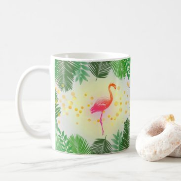 Beach Themed Flamingo and Tropical Leaves * Summer Time Madness Coffee Mug