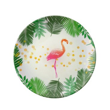 Beach Themed Flamingo and Tropical Leaves * Summer Time Madness Dinner Plate
