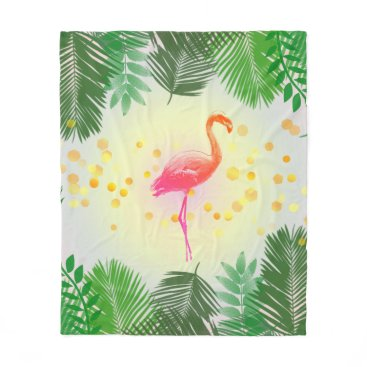 Beach Themed Flamingo and Tropical Leaves * Summer Time Madness Fleece Blanket