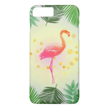 Beach Themed Flamingo and Tropical Leaves * Summer Time Madness iPhone 7 Plus Case