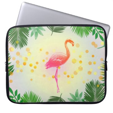 Beach Themed Flamingo and Tropical Leaves * Summer Time Madness Laptop Sleeve