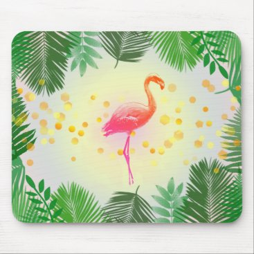 Beach Themed Flamingo and Tropical Leaves * Summer Time Madness Mouse Pad