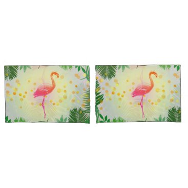Beach Themed Flamingo and Tropical Leaves * Summer Time Madness Pillow Case