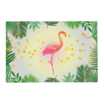 Beach Themed Flamingo and Tropical Leaves * Summer Time Madness Placemat