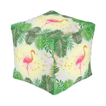 Beach Themed Flamingo and Tropical Leaves * Summer Time Madness Pouf
