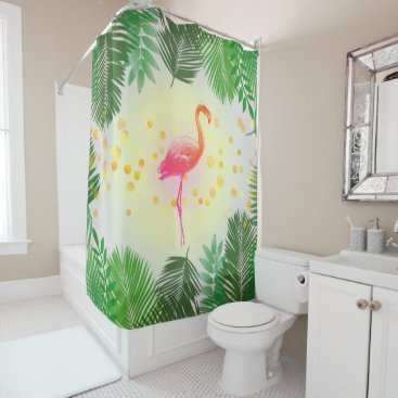 Beach Themed Flamingo and Tropical Leaves * Summer Time Madness Shower Curtain