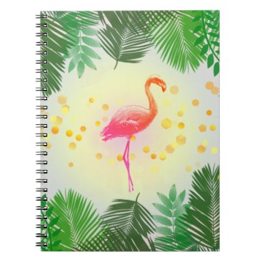 Beach Themed Flamingo and Tropical Leaves * Summer Time Madness Spiral Notebook