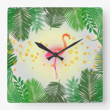 Beach Themed Flamingo and Tropical Leaves * Summer Time Madness Square Wall Clock