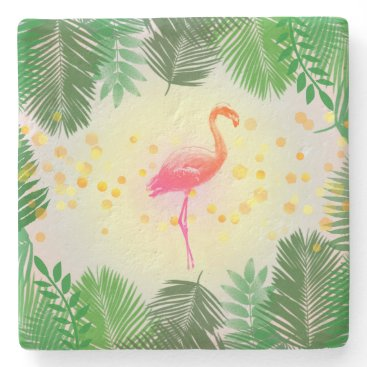 Beach Themed Flamingo and Tropical Leaves * Summer Time Madness Stone Coaster
