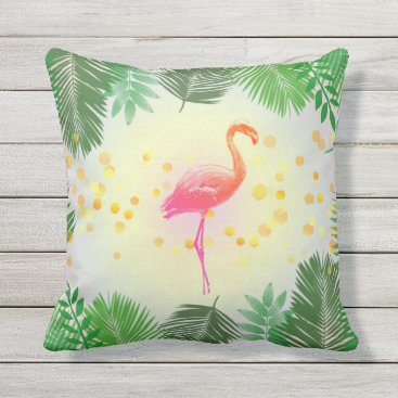 Beach Themed Flamingo and Tropical Leaves * Summer Time Madness Throw Pillow