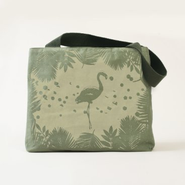 Flamingo and Tropical Leaves * Summer Time Madness Tote