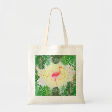 Beach Themed Flamingo and Tropical Leaves * Summer Time Madness Tote Bag