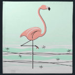 "Flamingo Aqua cloth napkins (set)<br><div class=""desc"">Stylish design with a retro touch featuring a flamingo standing in water on a pale green background. A customizable design for you to personalise with your own text,  images and ideas. An original digital art image created by QuirkyChic.</div>"