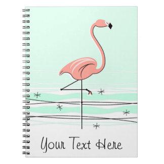 Flamingo Aqua Text notebook