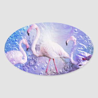 Flamingo Art 10 Oval Sticker