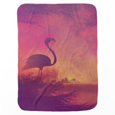 Beach Themed flamingo baby blanket