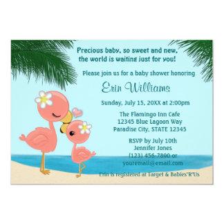 Flamingo Baby Shower invitation Mommy Kiss