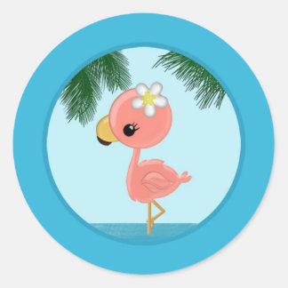 Flamingo Baby Shower invitation Round Sticker