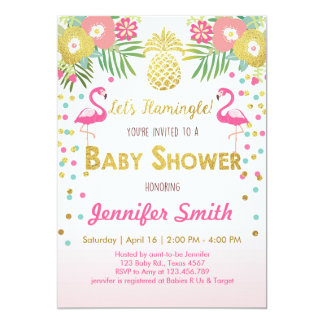 Flamingo Baby shower invitation Tropical