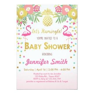 Flamingo Baby Shower Invitation Tropical