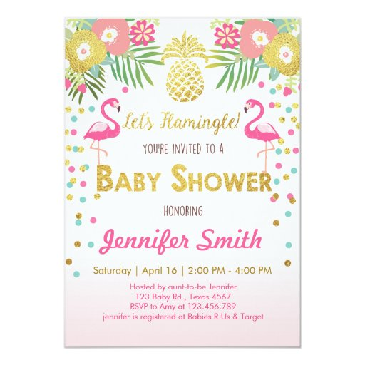flamingo baby shower invitation tropical zazzle