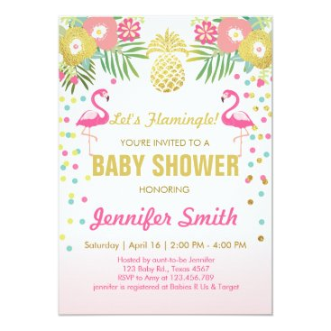 Toddler & Baby themed Flamingo Baby shower invitation Tropical