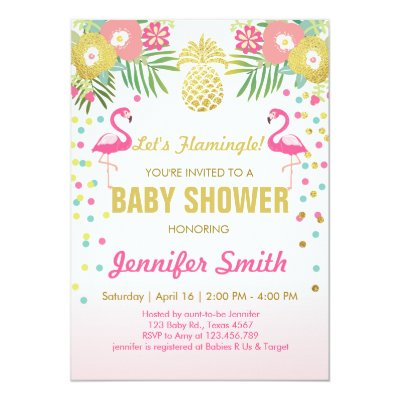 LETu0027S FLAMINGLE BABY SHOWER FLAMINGO INVITATION | Zazzle.com